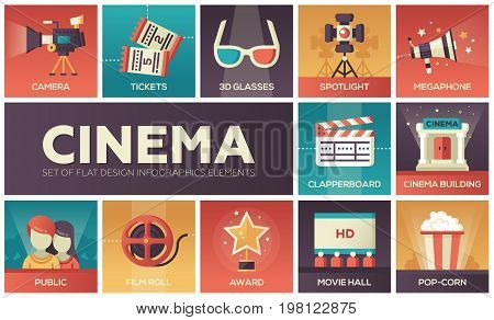 Cinema - set of modern vector flat design icons with gradient colors. Movie production symbols 3d glasses, film, pop corn, camera, award, ticket, hall, clapperboard, roll, megaphone, public