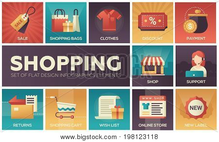 Set of modern vector flat design icons of shopping process elements with gradient colors. Online, secure, delivery, auction, coupon, assistance, call, location, tracking code, gift, money back shipping