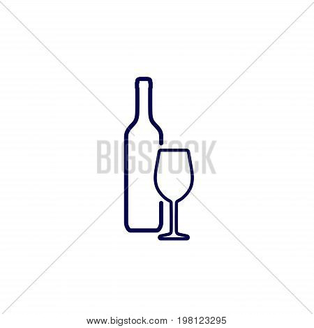 Icon of silhouette wine bottle and wine glass isolated on white background
