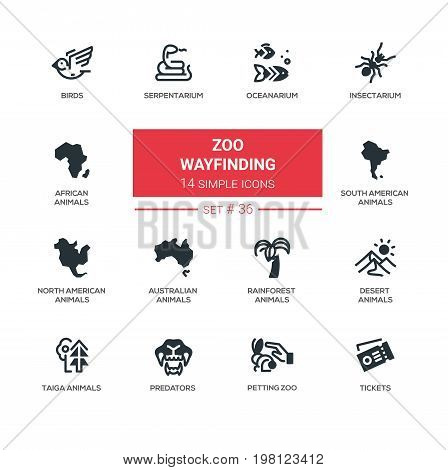 Zoo wayfinding - modern vector line icons set. Bird, serpentarium, oceanarium, insenctarium, africa, south, north america, australia, rainforest desert taiga predator petting zoo ticket