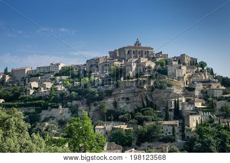 View Of Gordes, Medieval Town In Provence Region. France