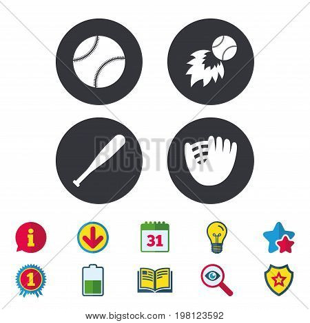 Baseball sport icons. Ball with glove and bat signs. Fireball symbol. Calendar, Information and Download signs. Stars, Award and Book icons. Light bulb, Shield and Search. Vector