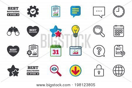 Best boyfriend and girlfriend icons. Heart love signs. Award symbol. Chat, Report and Calendar signs. Stars, Statistics and Download icons. Question, Clock and Globe. Vector