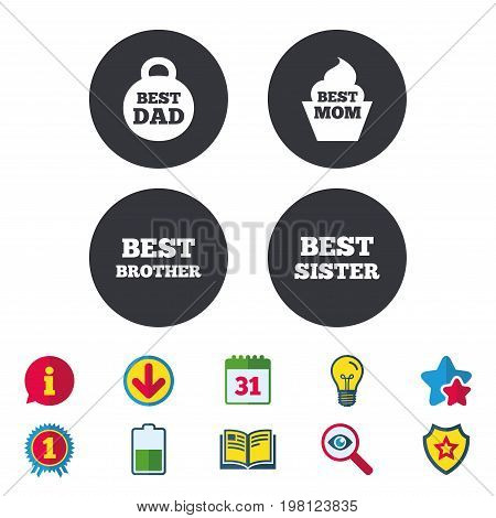 Best mom and dad, brother and sister icons. Weight and cupcake signs. Award symbols. Calendar, Information and Download signs. Stars, Award and Book icons. Light bulb, Shield and Search. Vector