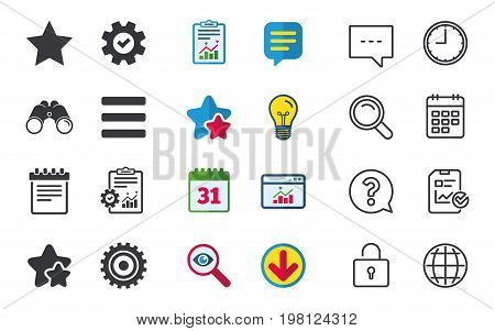 Star favorite and menu list icons. Notepad and cogwheel gear sign symbols. Chat, Report and Calendar signs. Stars, Statistics and Download icons. Question, Clock and Globe. Vector