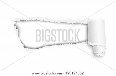 Snatched hole in white sheet of paper with soft shadow. Vector template paper design.