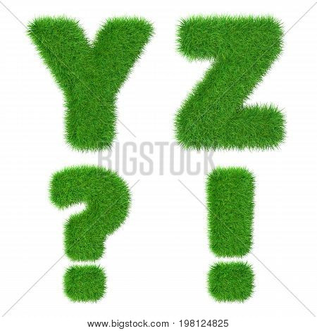 Letters Y Z isolated on white ecology concept 3d illustration.