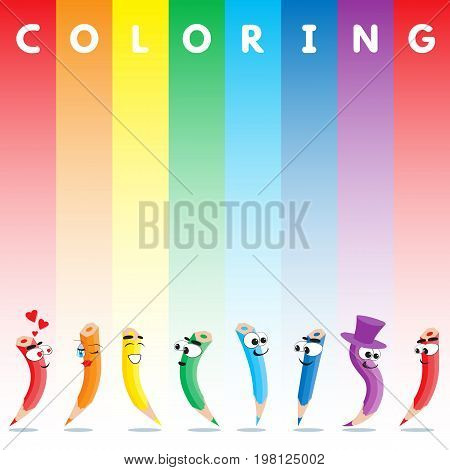 Cartoon colored crayons with rainbow. Vector cover for coloring pages for children