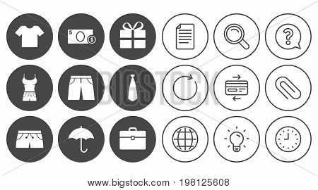 Clothing, accessories icons. T-shirt, business case signs. Umbrella and gift box symbols. Document, Globe and Clock line signs. Lamp, Magnifier and Paper clip icons. Question, Credit card and Refresh