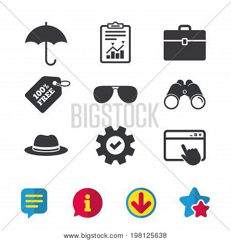 Clothing accessories icons. Umbrella and sunglasses signs. Headdress hat with business case symbols. Browser window, Report and Service signs. Binoculars, Information and Download icons. Vector