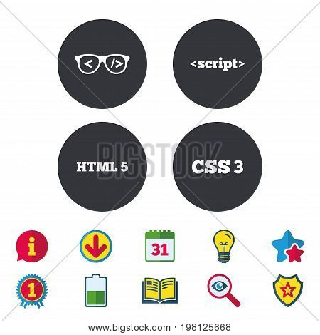 Programmer coder glasses icon. HTML5 markup language and CSS3 cascading style sheets sign symbols. Calendar, Information and Download signs. Stars, Award and Book icons. Light bulb, Shield and Search