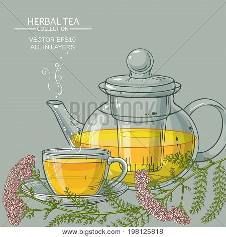cup of yarrow tea and teapot on color background