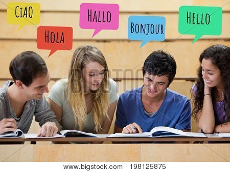 Digital composite of Hello in different languages chat bubbles learning with students