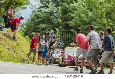 Mont du Chat France - July 9 2017: The Frensh cyclists Warren Barguil of Team Sunweb climbing the road on Mont du Chat during the stage 9 of Tour de France 2017. After a photo finish Barguil occupied 2nd place.