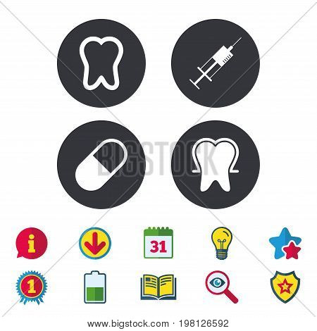Tooth enamel protection icons. Medical syringe and pill signs. Medicine injection symbol. Calendar, Information and Download signs. Stars, Award and Book icons. Light bulb, Shield and Search. Vector