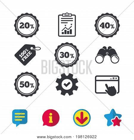 Sale discount icons. Special offer stamp price signs. 20, 30, 40 and 50 percent off reduction symbols. Browser window, Report and Service signs. Binoculars, Information and Download icons. Vector