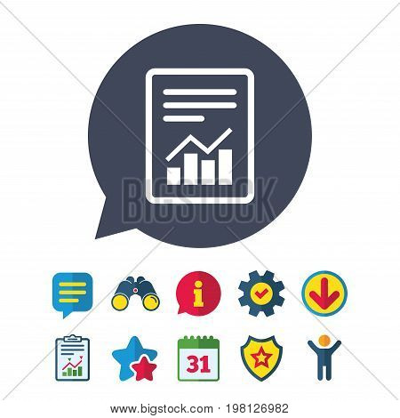 Text file sign icon. Add File document with chart symbol. Accounting symbol. Information, Report and Speech bubble signs. Binoculars, Service and Download, Stars icons. Vector
