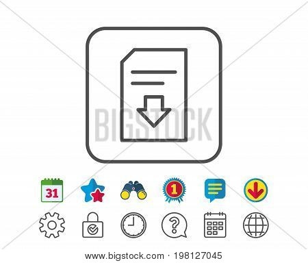 Download Document line icon. Information File sign. Paper page concept symbol. Calendar, Globe and Chat line signs. Binoculars, Award and Download icons. Editable stroke. Vector