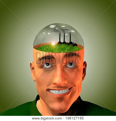 Factory belches smoke in mans head   3D rendering