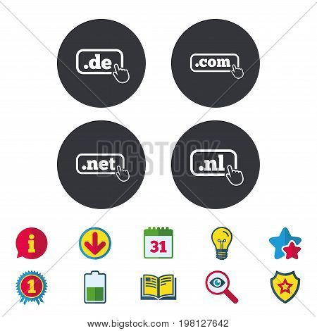 Top-level internet domain icons. De, Com, Net and Nl symbols with hand pointer. Unique national DNS names. Calendar, Information and Download signs. Stars, Award and Book icons. Vector