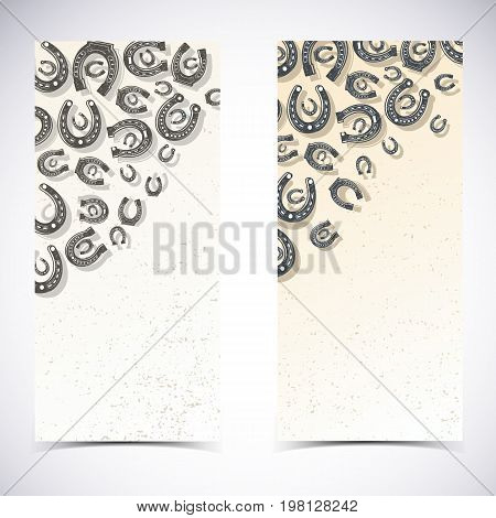 Two vertical horseshoes banner set with different shapes and sizes of horseshoes on white background vector illustration
