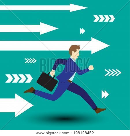Business Opportunity Concept Designed As A Businessman Is Running Forward In High Speed Along With White Arrows. Straight To New Opportunity With Full Motivation Attempt And Encouragement.