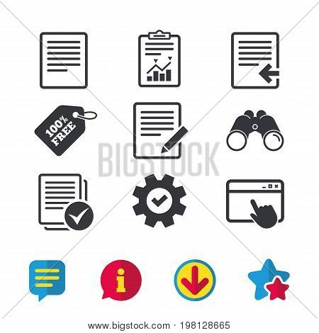 File document icons. Upload file symbol. Edit content with pencil sign. Select file with checkbox. Browser window, Report and Service signs. Binoculars, Information and Download icons. Stars and Chat
