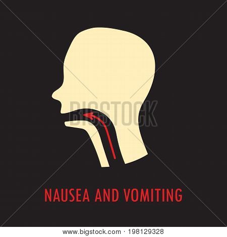 Nausea and vomiting. Logo or icon template in colored flat style isolated on black background. Eps10