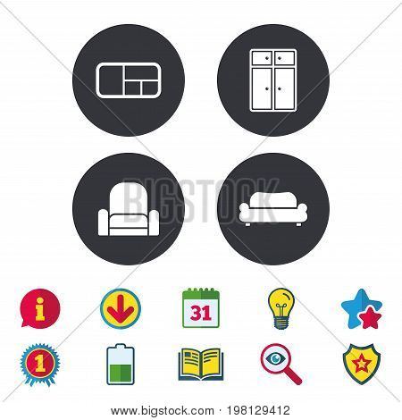 Furniture icons. Sofa, cupboard, and book shelf signs. Modern armchair symbol. Calendar, Information and Download signs. Stars, Award and Book icons. Light bulb, Shield and Search. Vector