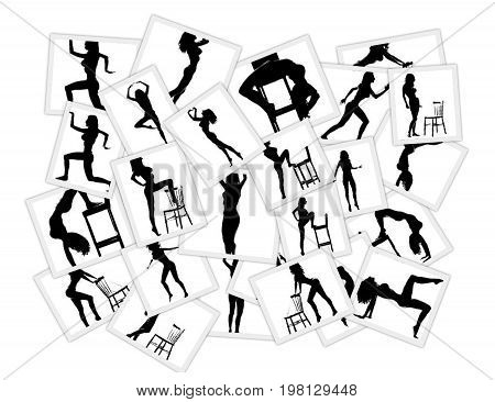 Collage of pictures with a woman doing gymnastics and yoga. Black and white silhouette of woman