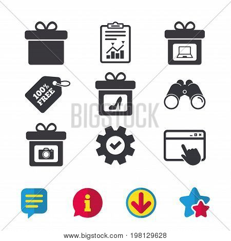 Gift box sign icons. Present with bow symbols. Photo camera sign. Woman shoes. Browser window, Report and Service signs. Binoculars, Information and Download icons. Stars and Chat. Vector