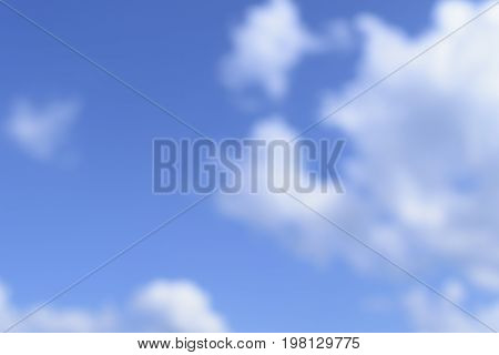 Unfocused background of blue sky and white clouds. Illustration for dreams and heaven.