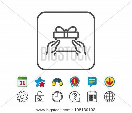 Give a Gift box line icon. Present or Sale sign. Birthday Shopping symbol. Package in Gift Wrap. Calendar, Globe and Chat line signs. Binoculars, Award and Download icons. Editable stroke. Vector