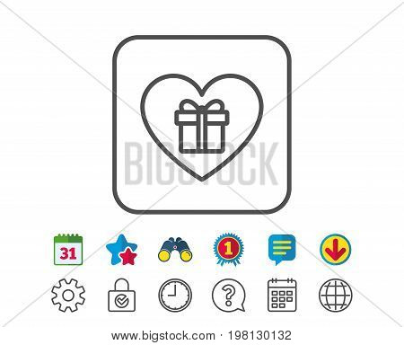 Love Gift box line icon. Present or Sale sign. Birthday Shopping symbol. Package in Gift Wrap. Calendar, Globe and Chat line signs. Binoculars, Award and Download icons. Editable stroke. Vector