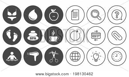 Spa, hairdressing icons. Swimming pool sign. Lingerie, scissors and hairdryer symbols. Document, Globe and Clock line signs. Lamp, Magnifier and Paper clip icons. Question, Credit card and Refresh