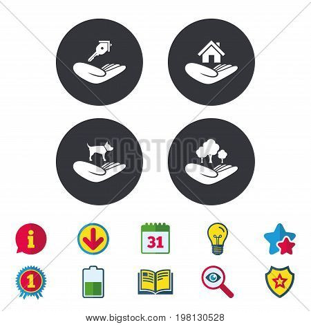 Helping hands icons. Shelter for dogs symbol. Home house or real estate and key signs. Save nature forest. Calendar, Information and Download signs. Stars, Award and Book icons. Vector