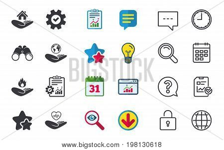 Helping hands icons. Health and travel trip insurance symbols. Home house or real estate sign. Fire protection. Chat, Report and Calendar signs. Stars, Statistics and Download icons. Vector