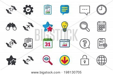 Hands insurance icons. Palm trees symbol. Travel trip flight insurance symbol. World globe sign. Chat, Report and Calendar signs. Stars, Statistics and Download icons. Question, Clock and Globe