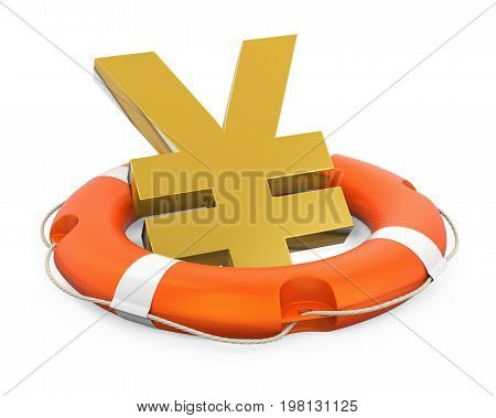 Japanese Yen Sign in Lifebuoy isolated on white background. 3D render