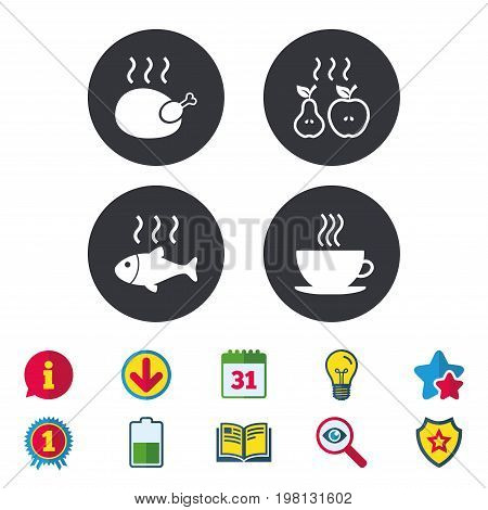 Hot food icons. Grill chicken and fish symbols. Hot coffee cup sign. Cook or fry apple and pear fruits. Calendar, Information and Download signs. Stars, Award and Book icons. Vector