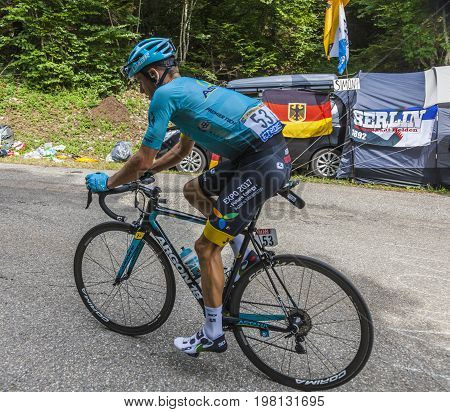 Mont du Chat France - July 9 2017: The Danish cyclists Jakob Fuglsang of Team Astana climbing the road on Mont du Chat during the stage 9 of Tour de France 2017.