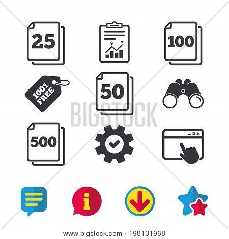 In pack sheets icons. Quantity per package symbols. 25, 50, 100 and 500 paper units in the pack signs. Browser window, Report and Service signs. Binoculars, Information and Download icons. Vector