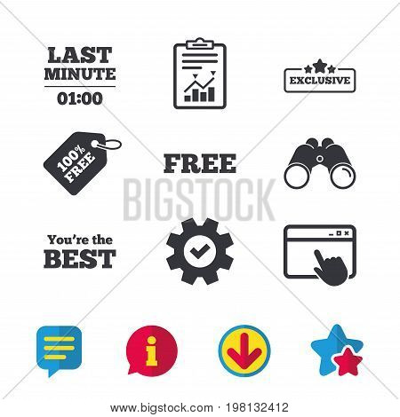 Last minute icon. Exclusive special offer with star symbols. You are the best sign. Free of charge. Browser window, Report and Service signs. Binoculars, Information and Download icons. Stars and Chat