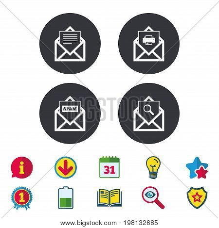 Mail envelope icons. Print message document symbol. Post office letter signs. Spam mails and search message icons. Calendar, Information and Download signs. Stars, Award and Book icons. Vector