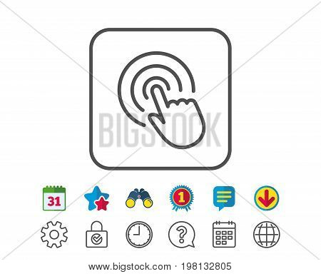 Hand Click line icon. Finger touch sign. Cursor pointer symbol. Calendar, Globe and Chat line signs. Binoculars, Award and Download icons. Editable stroke. Vector