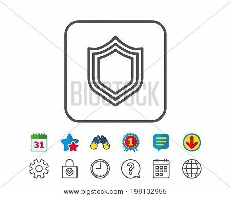 Shield line icon. Protection or Security sign. Defence or Guard symbol. Calendar, Globe and Chat line signs. Binoculars, Award and Download icons. Editable stroke. Vector