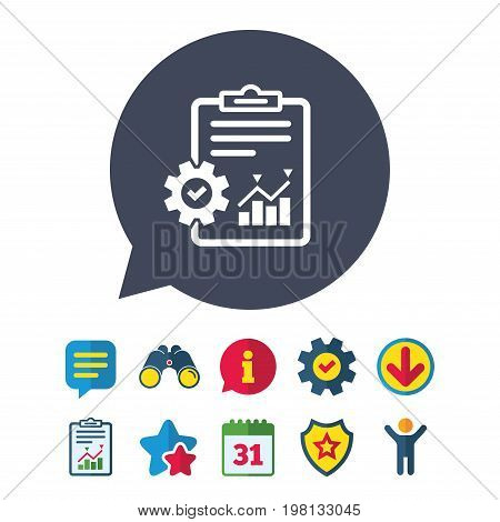 Project management icon. Report document with cogwheel symbol. File with charts symbol. Information, Report and Speech bubble signs. Binoculars, Service and Download, Stars icons. Vector