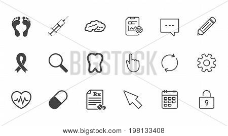Medicine, medical health and diagnosis icons. Syringe injection, heartbeat and pills signs. Tooth, neurology symbols. Chat, Report and Calendar line signs. Service, Pencil and Locker icons. Vector
