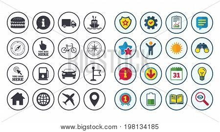 Set of Navigation and Gps icons. Windrose, Compass and Burger signs. Bicycle, Ship and Car symbols. Location pointer and flag. Calendar, Report and Book signs. Stars, Service and Download icons