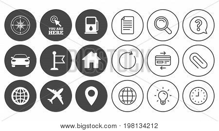 Navigation, gps icons. Windrose, compass and map pointer signs. Car, airplane and flag symbols. Document, Globe and Clock line signs. Lamp, Magnifier and Paper clip icons. Vector